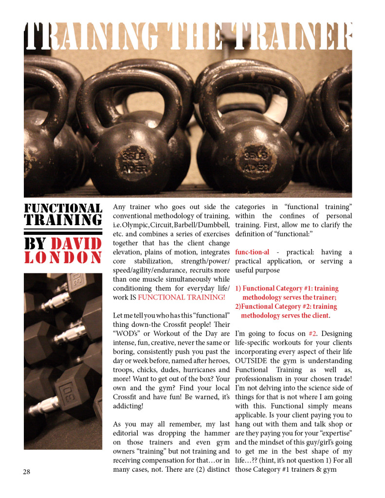 TRAINING THE TRAINER  FUNCTIONAL TRAINING  BY DAVID LONDON