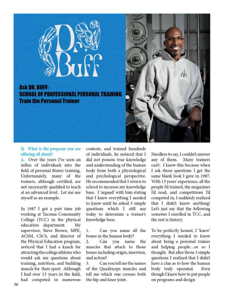 Ask DR. BUFF: SCHOOL OF PROFESSIONAL PERSONAL TRAINING Train the Personal Trainer