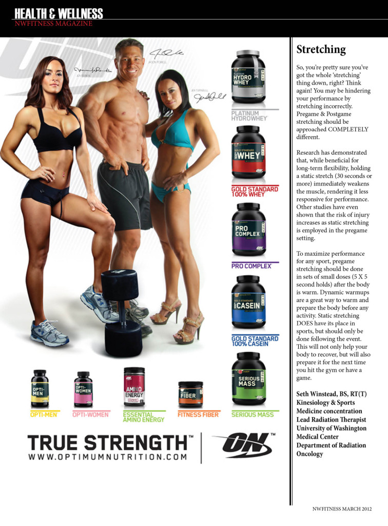 NW Fitness Magazine  Stretching  Seth Winstead, BS, RT(T) Kinesiology & Sports Medicine concentration