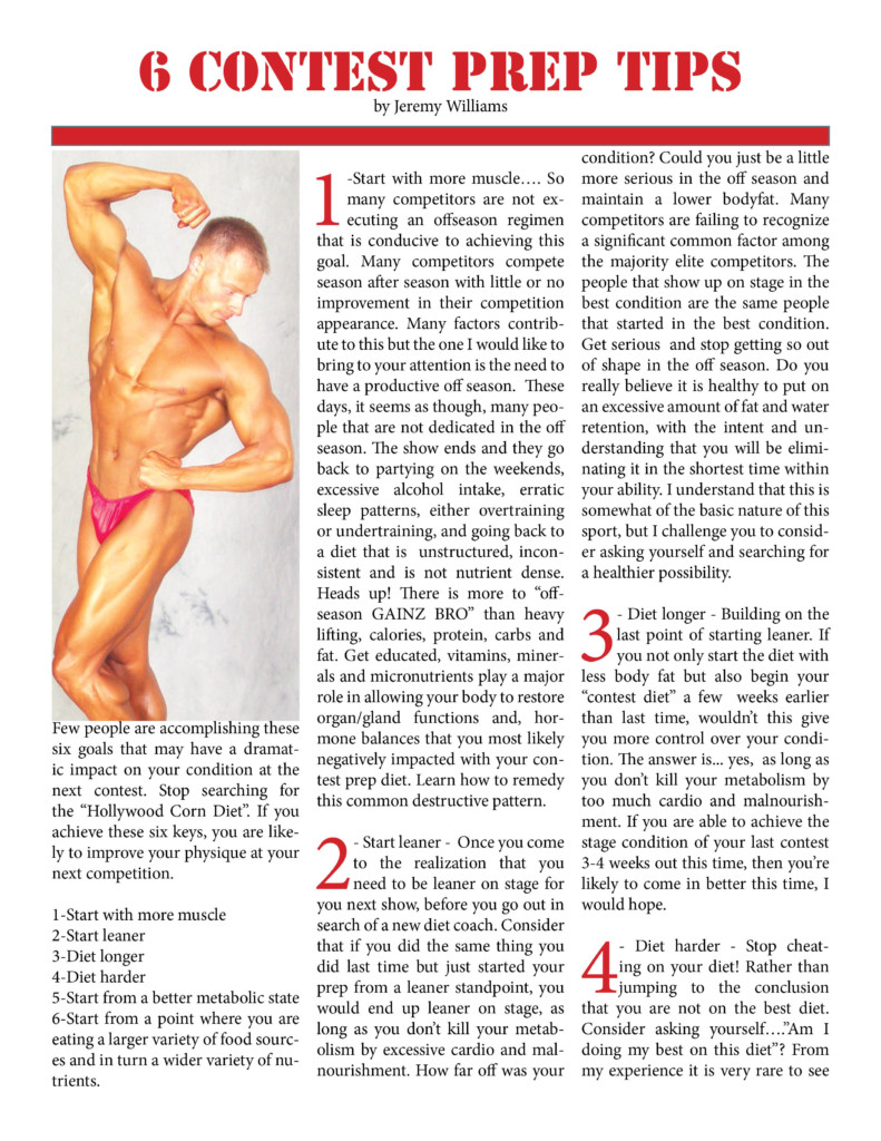 6 Contest Prep Tips, Jeremy Williams, NW Fitness Magazine